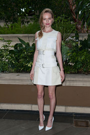 A high-waisted, belted white mini skirt, also by Alexander McQueen, completed Kate Bosworth's adorable look.