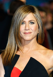 Jennifer Aniston chose a sleek straight hairdo for the UK premiere of 'Horrible Bosses 2.'