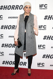 Rachel Roy showed off her fall style with this long gray vest, silk blouse, and slacks combo at the '#Horror' New York premiere.