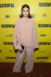Maia Mitchell made a fashion risk with this baggy pants and top ensemble.