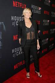 Robin Wright suited up in black Saint Laurent for the 'House of Cards' season 6 world premiere.