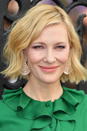 Cate Blanchett flaunted a gorgeous pair of diamond chandelier earrings at the world premiere of 'The House with a Clock in Its Walls.'