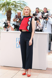 Cate Blanchett added an extra dose of color with red Roger Vivier peep-toe pumps.