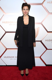 Maggie Gyllenhaal topped off her dress with a matching blazer.