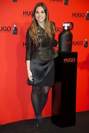Leire Martinez mixed and matched a fab leather jacket with a satin and sheer dress.