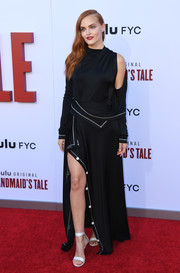 Madeline Brewer sealed off her look with white ankle-strap sandals.