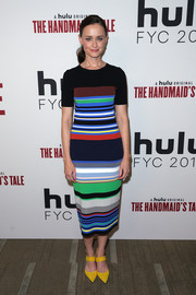 Alexis Bledel was eye candy in a multicolored striped knit dress by Diane von Furstenberg at the 'Handmaid's Tale' FYC event.