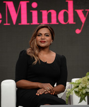 Mindy Kaling gave her look subtle sparkle with some stackable rings.