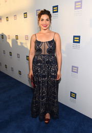 America Ferrera styled her dress with burgundy platform sandals and a matching clutch.