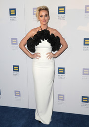 Katy Perry got glam in a white Rasario halter gown with black ruffle detailing for the Human Rights Campaign 2017 Gala.