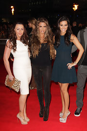 Michelle Heaton posed with Katie Price in a white cocktail dress at the London premiere of 'The Hunger Games.'