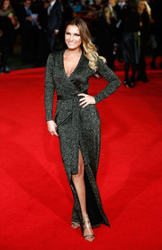 Sam Faiers attended the 'Hunger Games: Mockingjay Part 1' premiere wearing a shimmery wrap dress.