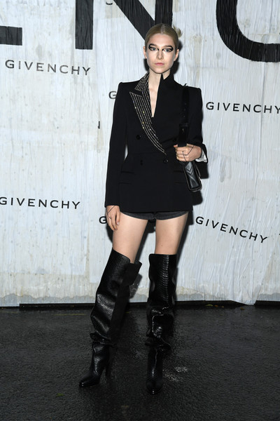Hunter Schafer Blazer [clothing,leg,thigh,joint,footwear,knee-high boot,shoulder,fashion,lady,knee,summer 2020,hunter schafer,front row,part,givenchy womenswear spring,paris,france,givenchy,paris fashion week,show]