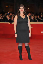 Tanya Wexler wore a lacy little black dress with a fedora and knee-high boots for the premiere of 'Hysteria' at the Rome Film Festival.