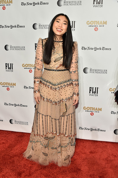 Awkwafina went for whimsical glamour in a beaded nude gown by J. Mendel at the 2019 Gotham Independent Film Awards.