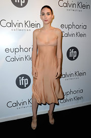 Rooney Mara's chose this nude flowing frock for a simple but chic look at Calvin Klein's Celebration of Women in Film.
