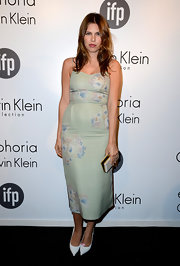 Dasha Zhukova rocked a mint green floral frock for her look at Calvin Klein's Celebration of Women in Film.
