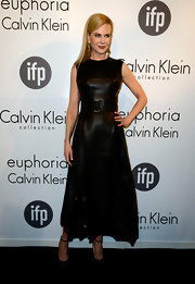 Nicole Kidman looked elegant in this A-line leather dress that featured cutout detailing on the skirt.
