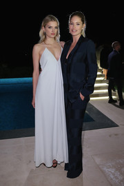 Lily Donaldson donned a boudoir-chic white spaghetti-strap gown for the Women in Film event in Cannes.