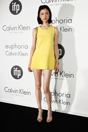 Du Juan showed off her long fair legs in this A-line yellow dress at the Women in Film celebration.
