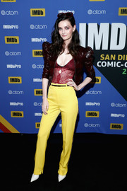 Lydia Hearst donned a leather jacket with puffed sleeves for the #IMDboat at San Diego Comic-Con 2018.
