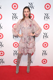 Nicole Trunfio opted for a boho mauve print dress by Zimmermann when she attended the IMG + Target official NYFW kickoff.