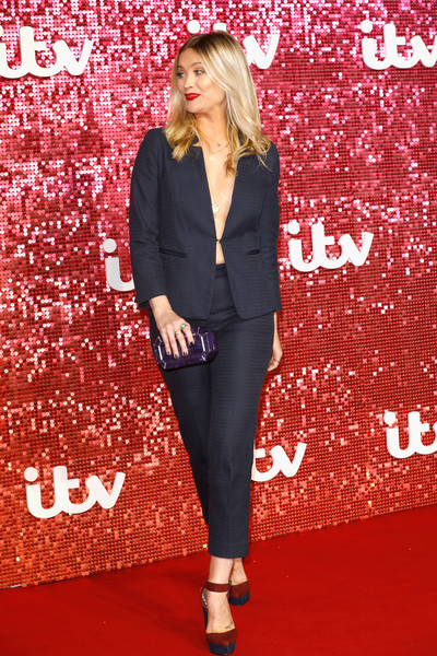 More Pics of Laura Whitmore Pantsuit (1 of 5) - Laura Whitmore Lookbook - StyleBistro [clothing,red,suit,carpet,outerwear,red carpet,fashion,pantsuit,blazer,footwear,red carpet arrivals,laura whitmore,london palladium,england,itv,itv gala]