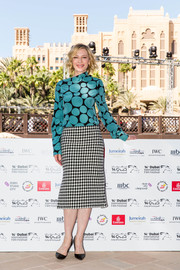 Cate Blanchett attended the IWC For the Love of Cinema event wearing a teal and black polka-dot blouse by Marni.