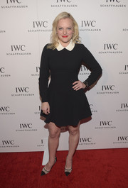 Elisabeth Moss was cute and classic in a Kate Spade LBD with a contrast sequin collar during the IWC Schaffhausen Rodeo Drive grand opening.