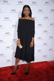 Genevieve Jones looked phenomenal in a black loose fitting off-the-shoulder dress at 'For the Love of Cinema' event.