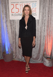 Dawn Olivieri opted for a simple black skirt suit when she attended the IWMF Courage in Journalism Awards.