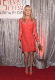 Kate Hudson chose a classic Temperley London lace cocktail dress in a bold coral hue for the IWMF Courage in Journalism Awards.