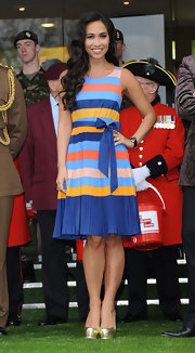 Myleene Klass was a doll in London wearing this striped pleated number.
