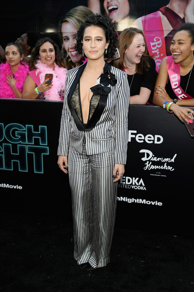Ilana Glazer Pantsuit [premiere,event,pink,fashion,red carpet,formal wear,dress,carpet,flooring,performance,ilana glazer,rough night,premeire,premeire,new york,lincoln square,amc loews]