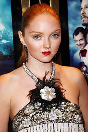 Lily Cole's rich red lipstick totally brightened up her beauty look during the UK premiere of 'The Imaginarium of Doctor Parnassus.'