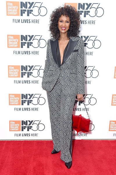 Iman Fur Purse [the times of bill cunningham,red carpet,clothing,carpet,hairstyle,suit,premiere,pantsuit,fashion,fashion model,flooring,iman,lincoln center,new york city,alice tully hall,new york film festival,screening]