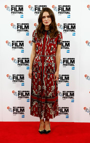 Keira Knightley didn't opt for simple pumps with the embroidered Charlotte Olympia pair she wore to the 'Laggies' premiere.