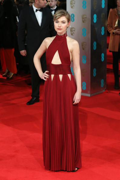 Imogen Poots Cutout Dress [red carpet,carpet,fashion model,dress,clothing,gown,flooring,fashion,shoulder,haute couture,imogen poots,british academy film awards,ee,england,london,the royal opera house,red carpet arrivals]