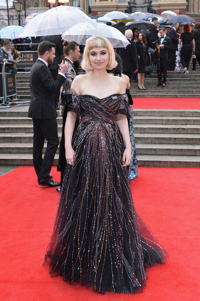 Imogen Poots Off-the-Shoulder Dress [red carpet,carpet,clothing,premiere,dress,flooring,gown,fashion,long hair,haute couture,arrivals,imogen poots,olivier awards,london,england,royal albert hall,mastercard,vip]