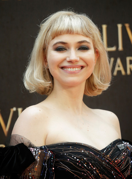 Imogen Poots Smoky Eyes [hair,face,hairstyle,blond,eyebrow,chin,beauty,lip,layered hair,long hair,red carpet arrivals,imogen poots,olivier awards,london,england,royal albert hall,mastercard]