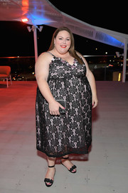 Chrissy Metz looked charming in a black lace-overlay slip dress at the InStyle and Kate Spade dinner.