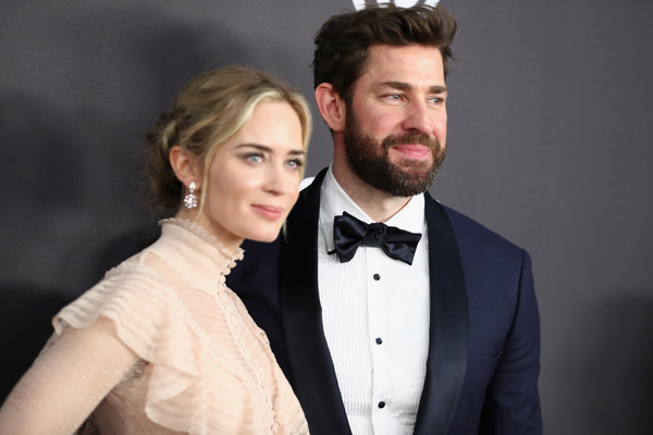 More Pics of Emily Blunt Evening Dress (3 of 5) - Dresses & Skirts Lookbook - StyleBistro [hair,suit,formal wear,facial hair,bow tie,tie,hairstyle,beard,tuxedo,beauty,john krasinski,emily blunt,l,beverly hills,california,instyle,golden globes,warner bros.,arrivals,party]