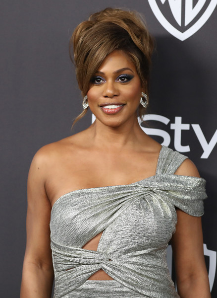 More Pics of Laverne Cox Beehive (1 of 8) - Updos Lookbook - StyleBistro [hair,shoulder,hairstyle,clothing,beauty,dress,cocktail dress,long hair,layered hair,fashion model,laverne cox,beverly hills,california,the beverly hilton hotel,instyle,golden globes,warner bros.,arrivals,party]