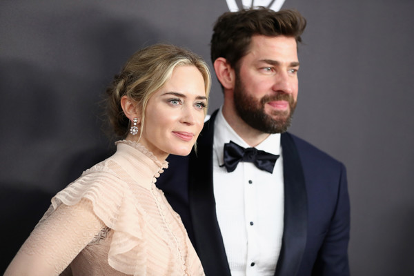 More Pics of Emily Blunt Evening Dress (4 of 5) - Dresses & Skirts Lookbook - StyleBistro [hair,suit,formal wear,facial hair,bow tie,hairstyle,tie,fashion,cheek,beard,john krasinski,emily blunt,l,beverly hills,california,instyle,golden globes,warner bros.,arrivals,party]