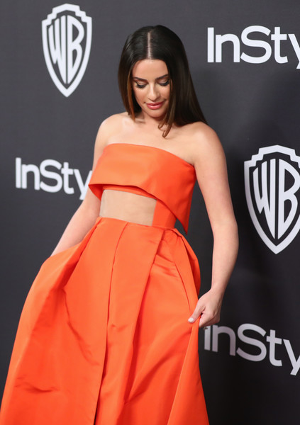More Pics of Lea Michele Strapless Dress (1 of 7) - Lea Michele Lookbook - StyleBistro [clothing,orange,dress,carpet,strapless dress,fashion model,red carpet,fashion,premiere,shoulder,lea michele,beverly hills,california,the beverly hilton hotel,instyle,golden globes,warner bros.,arrivals,party]