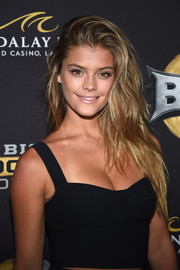 Nina Agdal attended the BKB inaugural event wearing her hair in sexy, mussed-up layers.
