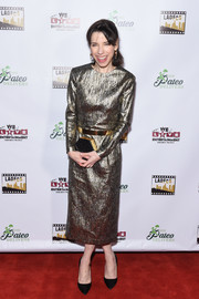 Sally Hawkins went for high shine with this metallic midi dress by Romona Keveza at the Los Angeles Online Film Critics Society Awards.