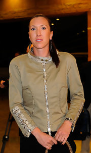 Jelena Jankovic's tan zip-up jacket featuring snakeskin detailing was a perfect mix of sporty and chic.