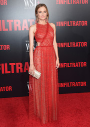 Diane Kruger was trendy and glam in a red lace cutout gown by Jason Wu at the New York premiere of 'The Infiltrator.'