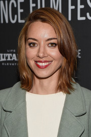 Aubrey Plaza framed her face with this flippy 'do for the Sundance premiere of 'Ingrid Goes West.'